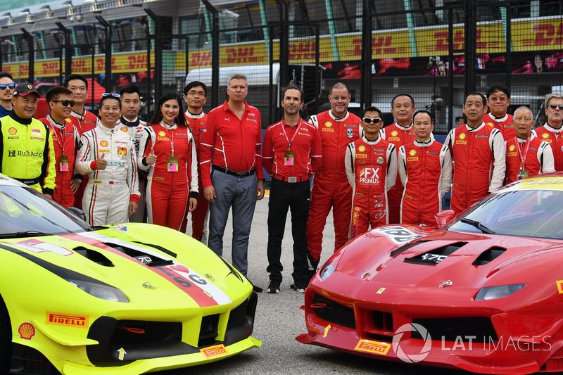 Kimi Raikkonen, Ferrari, Sebastian Vettel, Ferrari e Maurizio Arrivabene, Ferrari Team Principal, i piloti del Ferrari Challenge Asia Pacific 2017