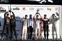 Podium ST: Race winner #73 MINI JCW Team MINI Cooper John Cooper Works: Derek Jones, Mat Pombo; second place #56 Murillo Racing Porsche Cayman: Jeff Mosing, Eric Foss; third place #17 RS1 Porsche Cayman: Nick Galante, Spencer Pumpelly