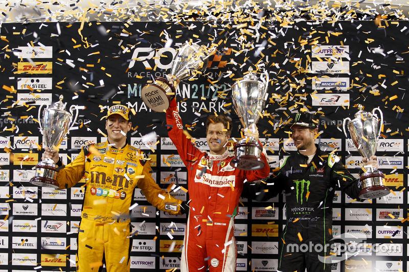 Podio Copa de Naciones: Ganador Sebastian Vettel; segundo Team USA-NASCAR con Kyle Busch y Kurt Busch