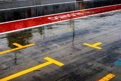 De la pluie dans la ligne des stands