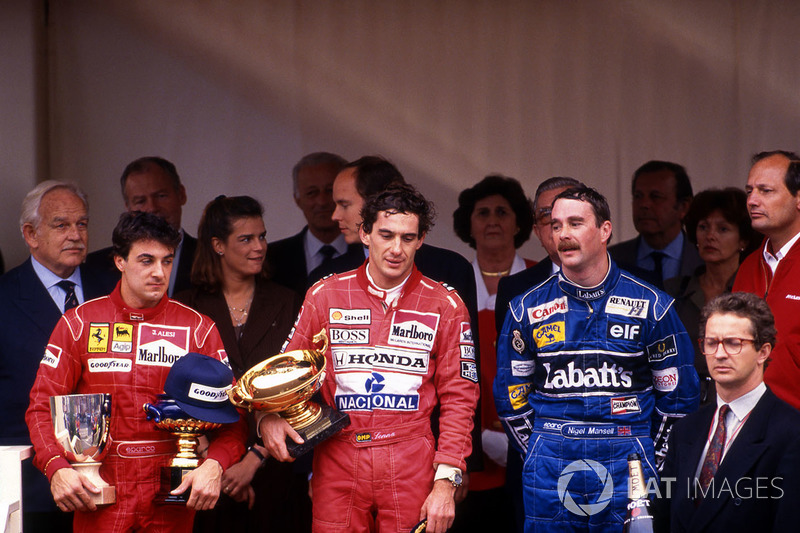 Podium: race winner Ayrton Senna, McLaren, second place Jean Alesi, Ferrari, third place Nigel Mansell, Williams, HSH Prince Rainier , HSH Princess Stephanie of Monaco, HSH Prince Albert of Monaco, Ron Dennis, McLaren