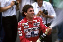 Podium: winner Ayrton Senna, McLaren