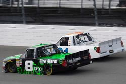 John Hunter Nemechek, SWM-NEMCO Motorsports Chevrolet and Johnny Sauter, GMS Racing Chevrolet