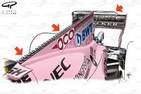 Force India VJM10: Motorenabdeckung, GP Singapur