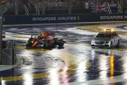 The crashed cars of Max Verstappen, Red Bull Racing RB13 and Kimi Raikkonen, Ferrari SF70H and Medical car