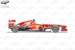 Vue latérale de la Ferrari F138