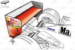 Aileron arrière de la Ferrari F2001, longue de corde en jaune