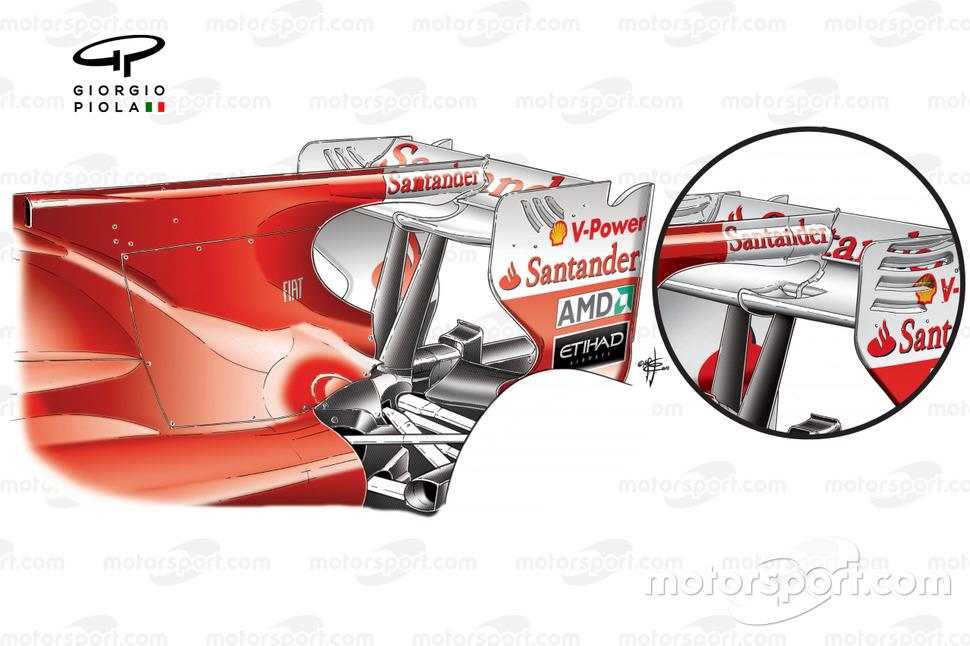 Alerón trasero del Ferrari F10 con el F-Duct (inserción con la especificación anterior)