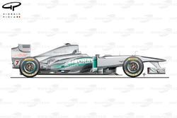 Vue latérale de la Mercedes W02, Espagne