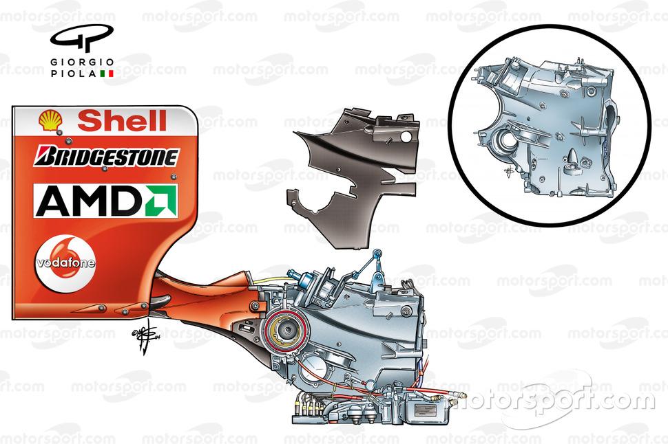 Ferrari F2004 (655) 2004, assemblaggio dell'ala posteriore e della scatola del cambio