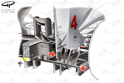 McLaren MP4-27 changes to rear wing endplate strakes and perforated diffuser gurney (arrowed)