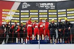 GTE Podium: Race winner #55 Spirit of Race, Ferrari F488 GTE: Duncan Cameron, Matt Griffin, Aaron Scott, second place #66 JMW Motorsport, Ferrari F458 Italia: Robert Smith, Rory Butcher, Jody Fannin, third place #90 TF Sport, Aston Martin V8 Vantage: Salih Yoluc, Euan Hankey, Nicki Thiim