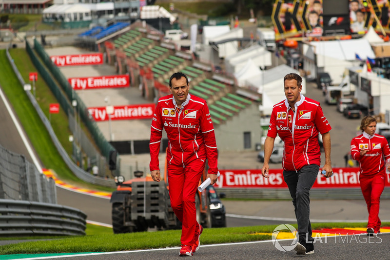 Sebastian Vettel, Ferrari walks the track, Adami, Ferrari Race Engineer