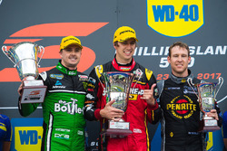 Podium: race winner Chaz Mostert, Rod Nash Racing Ford, second place Mark Winterbottom, Prodrive Racing Australia Ford, third place David Reynolds, Erebus Motorsport Holden