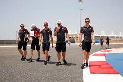 Romain Grosjean, Haas F1 Team walks the track with his team