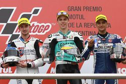 Podium: second place John McPhee, British Talent Team, race winner Joan Mir, Leopard Racing, third place Jorge Martin, Del Conca Gresini Racing Moto3