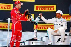 Podium: 2. Sebastian Vettel, Ferrari; 1. Lewis Hamilton, Mercedes AMG F1
