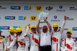 Race winners #29 Audi Sport Team Land-Motorsport, Audi R8 LMS: Christopher Mies, Connor De Phillippi, Markus Winkelhock, Kelvin van der Linde with Wolfgang Land, team principal Audi Sport Team Land Motorsport