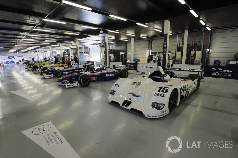 A line-up of Williams-related cars, including 1999 BMW Le Mans winner