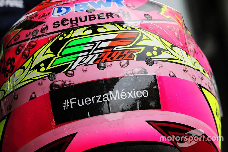 Хэштег #FuerzaMexico в поддержку пострадавших от землетрясения на шлеме Серхио Переса, Sahara Force