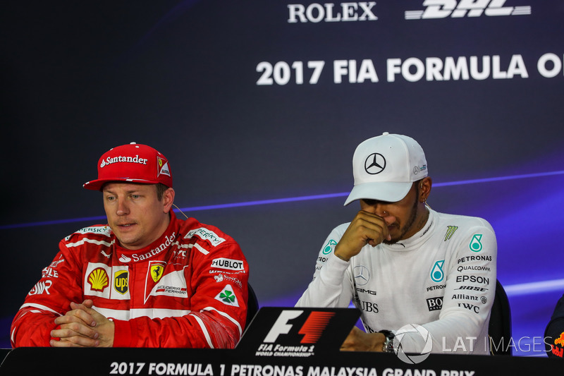 Kimi Raikkonen, Ferrari and Lewis Hamilton, Mercedes AMG F1 in the Press Conference