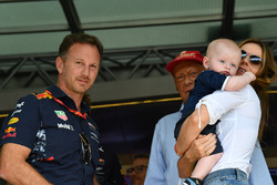 Christian Horner, Red Bull Racing Team Principal and Geri Halliwell, their son Montague George Hector Horner