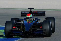 Justin Wilson, ran in the Minardi PS01 on Avon tyres