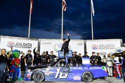Brett Moffitt, Hattori Racing Enterprises, AISIN Atlanta Toyota Tundra in victory lane