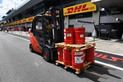 Forklift and fuel churns