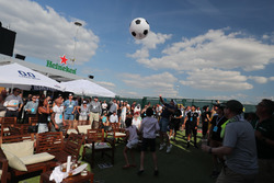 Football in the paddock after the World Cup match win