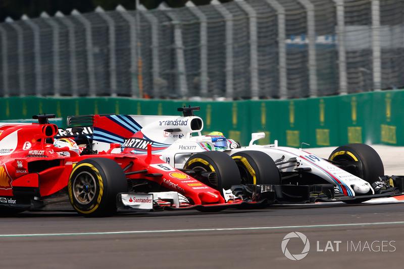 Sebastian Vettel, Ferrari SF70H, Felipe Massa, Williams FW40, battle for position