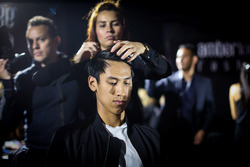 Sean Gelael, Scuderia Toro Rosso in make up at Amber Lounge Fasion Show