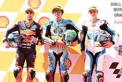Le poleman Franco Morbidelli, Marc VDS, le deuxième Miguel Oliveira, Red Bull KTM Ajo, le troisième Fabio Quartararo, Pons HP 40