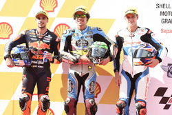 Pole sitter Franco Morbidelli, Marc VDS, second place Miguel Oliveira, Red Bull KTM Ajo, third place