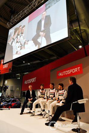 Derek Warwick with Dan Ticktum, Harrison Scott and Max Fewtrell talk to Henry Hope-Frost on the Auto