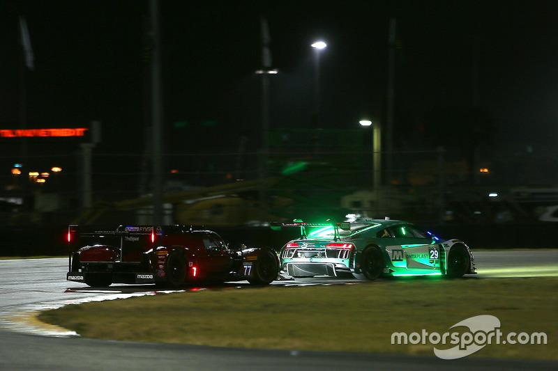 #77 Mazda Team Joest Mazda DPi: Oliver Jarvis, Tristan Nunez, René Rast, #29 Montaplast by Land-Motorsport Audi R8 LMS GT3: Christopher Mies, Sheldon van der Linde, Jeffrey Schmidt, Kelvin van der Linde