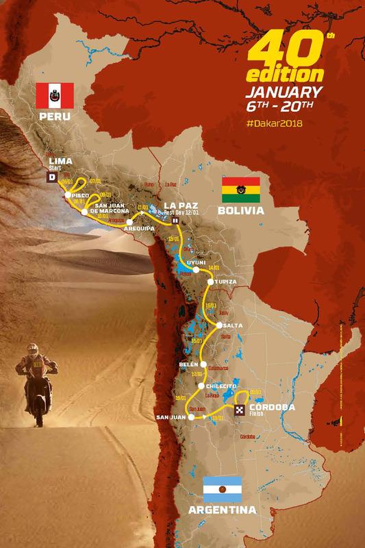 La ruta del Dakar 2018