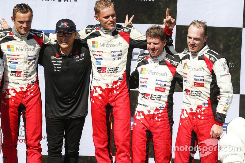 Podio: i vincitori Ott Tanak, Martin Järveoja, Toyota Yaris WRC, Toyota Gazoo Racing, al terzo posto Jari-Matti Latvala, Miikka Anttila, Toyota Yaris WRC, Toyota Gazoo Racing