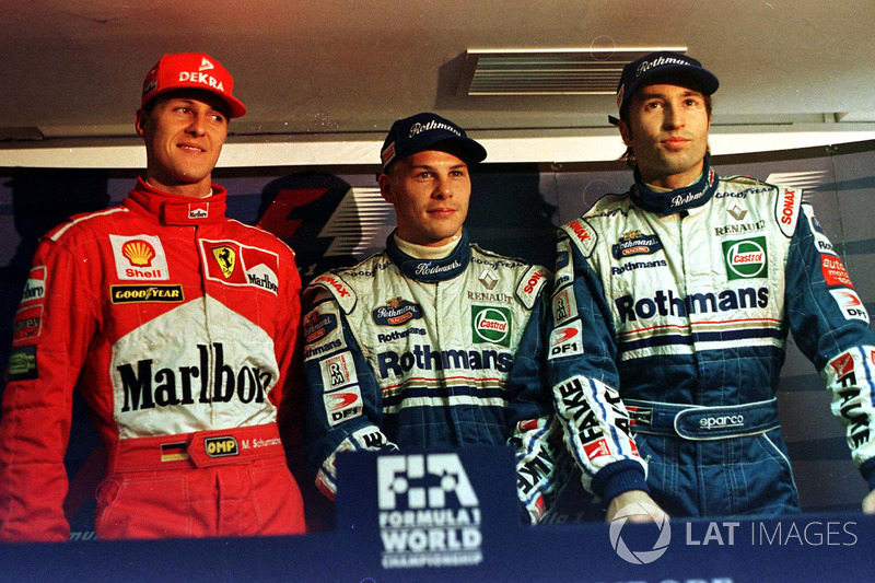 Jacques Villeneuve, Williams, Michael Schumacher, Ferrari, Heinz-Harald Frentzen, Williams
