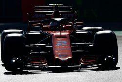 Stoffel Vandoorne, McLaren MCL32, utiliza el dispositivo de halo en los PL1