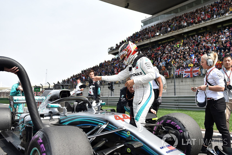 Lewis Hamilton, Mercedes-AMG F1 W09 EQ Power en parrilla