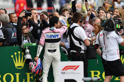 Sergio Perez, Force India celebrates in parc ferme