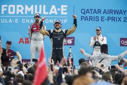 Jean-Eric Vergne, Techeetah, wins the Paris ePrix, Lucas di Grassi, Audi Sport ABT Schaeffler, in 2nd, Sam Bird, DS Virgin Racing, in 3rd