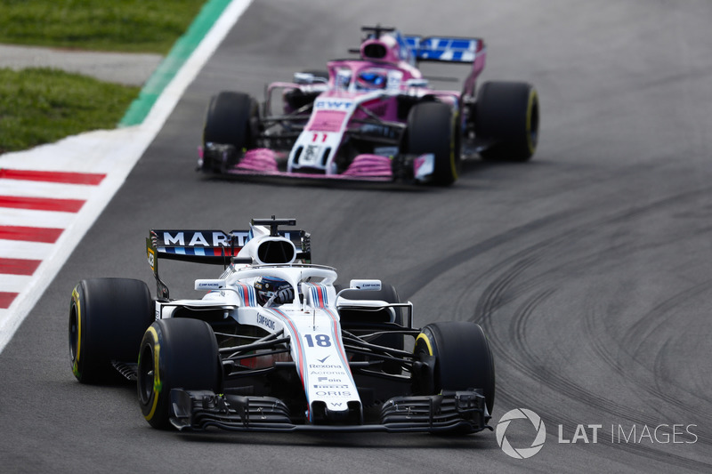 Lance Stroll, Williams FW41, Sergio Perez, Force India VJM11