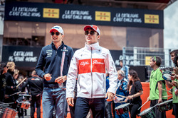 Esteban Ocon, Force India F1 and Charles Leclerc, Sauber on the drivers parade