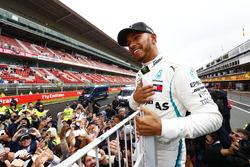 Lewis Hamilton, Mercedes AMG F1, 1st position, celebrates with fans