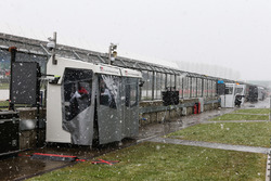 It's snowing at the Silverstone Circuit