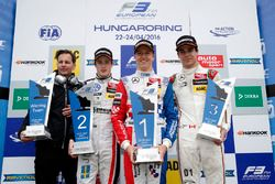 Podium: John McGill, Race engineer HitechGP, second place Joel Eriksson, Motopark, Dallara F312 - Volkswagen; Winner Ben Barnicoat, HitechGP, Dallara F312 - Mercedes-Benz; third place Lance Stroll, Prema Powerteam, Dallara F312 - Mercedes-Benz
