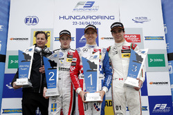 Podium: John McGill, Race engineer HitechGP, second place Joel Eriksson, Motopark, Dallara F312 - Volkswagen; Winner Ben Barnicoat, HitechGP, Dallara F312 - Mercedes-Benz; third place Lance Stroll, Prema Powerteam, Dallara F312 - Mercedes-Benz