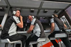 (L to R): Andy Stevenson, Sahara Force India F1 Team Manager and Otmar Szafnauer, Sahara Force India F1 Chief Operating Officer celebrates third position for Sergio Perez, Sahara Force India F1 at the end of the race